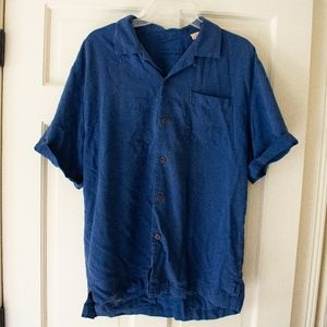 Mens Tommy Bahama Large Hawaiian Blue Botton Down